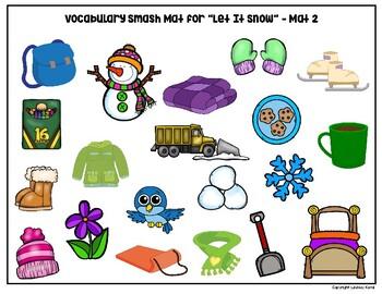 "Book Companion Vocabulary Building Smash Mats for ""Let It Snow"""