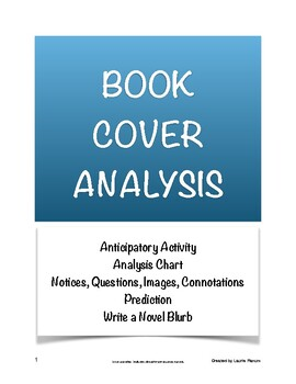 Book Cover Analysis; Novel Anticipatory Set; Book Jacket Blurb; Secondary