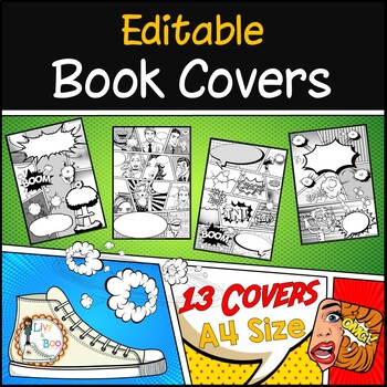 Book Covers ~ Comic Style ~ 13 Editable Covers ~ A4 Size