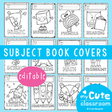 Book Covers for Subjects - Editable to Colour In