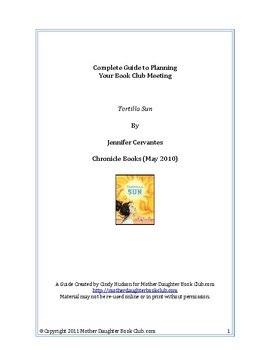 Book Discussion Planning Guide — Tortilla Sun by Jennifer Cervantes
