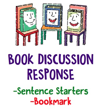 Book Discussion Response Sentence Starters / Bookmark
