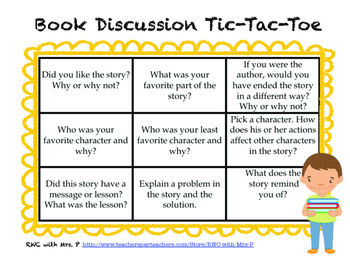 Reading Comprehension Book Discussion Tic-Tac-Toe
