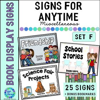 Book Display Signs for the Library or Classroom Set F Anytime Signs
