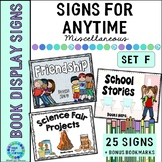 Book Display Signs for the Library or Classroom:  Set F An