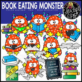 Book Eating Monster Clip Art Set {Educlips Clipart}
