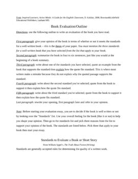 Book Evaluation Essay