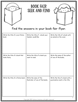 Book Fair Centers and Scavenger Hunt Bundle