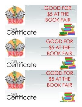 Book Fair Gift Certificates