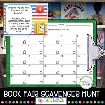 Book Fair Scavenger Hunt Task Cards