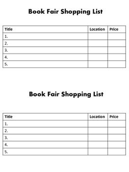 Book Fair Shopping List