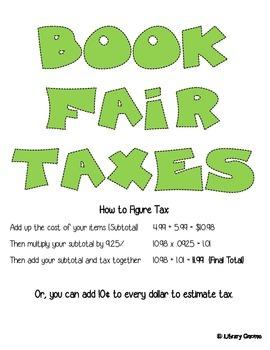 Book Fair Taxes Sign (9.25% tax rate)