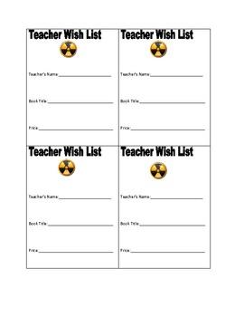 Book Fair Teacher Wish Lists