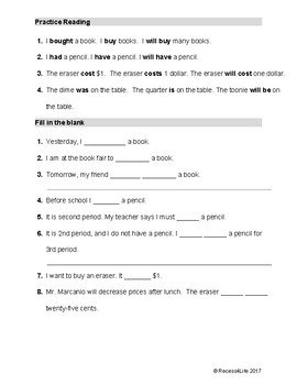 Book Fair Worksheet for ESL, Spec Ed, or young readers