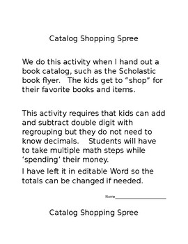 Book Flyer Addition and Subtraction Shopping Spree