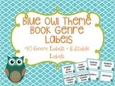 Book Genre Labels - Blue Owl with Blue Frame