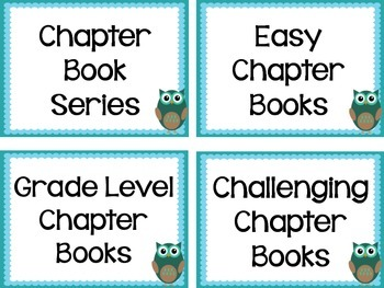 Book Genre Labels - Blue Owl with Blue Frame