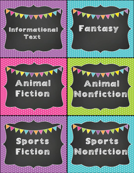 Book Genre Labels --Chalkboard Bright