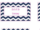Book Genre Labels in Navy Chevron with Pink Detail