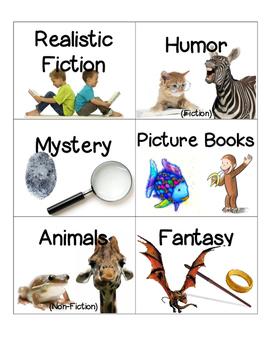 Book Genre Labels Elementary