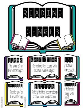 Book Genre Mini-Posters FREEBIE