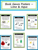 Book Genre Posters & Mini Reader's Notebook Sheets - Lime & Aqua