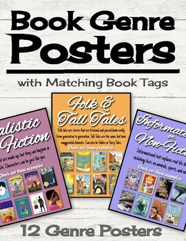 Book Genre Posters with Matching Book Tags