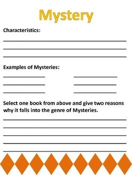 Book Genres Booklet (14 Genres & follow up Activity)