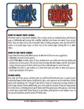 Book Genres Collectible Trading Cards - resource for fiction nonfiction more!