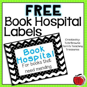 Book Hospital Label - Chevron and Dots