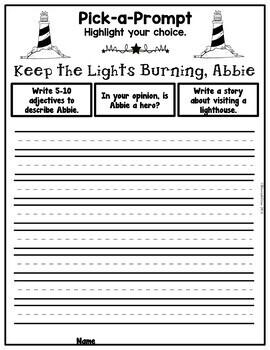Book It: Retell It, Write It, Make It! Packet (Keep the Lights Burning, Abbie)