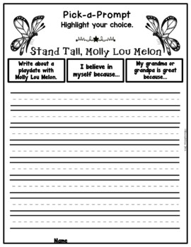 Book It: Retell It, Write It, Make It! (Stand Tall, Molly Lou Melon)