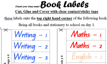 First Day of School Year - Book Labels