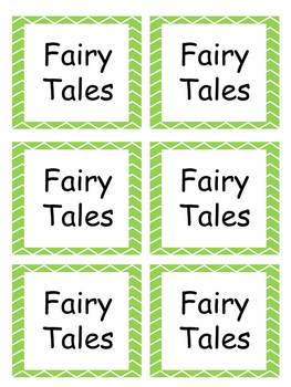 Book Labels with green chevron border EDITABLE