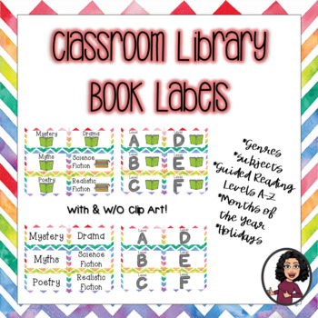 Book Labels for Classroom Library-Rainbow
