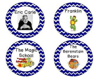 Book Labels for K-2 Classroom Library -- Blue Chevron