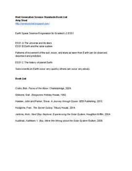 Book List: Earth Space Science Progression for Grades K-2 ESS1