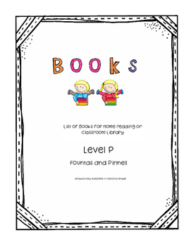 Book List Level P