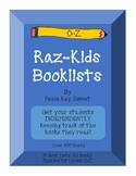 Book Lists for RAZ-Kids (Includes all books from O-Z)