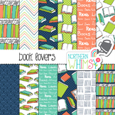 Book Lovers Digital Paper for Crafts and Classroom Decor