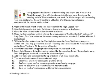 Microsoft Word Bookmarks activity for grades 5-8