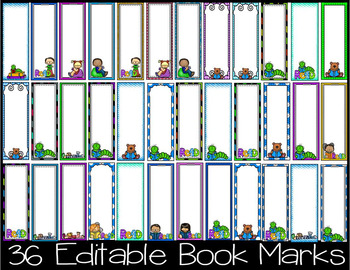 Book Marks- Editable- 36 Editable Book Marks