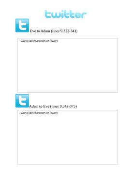 Book Nine of Paradise Lost Recap through Twitter: Adam and Eve Argument