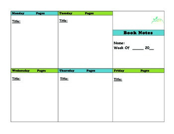 Book Notes Template for Literature Response