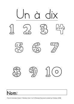 Book: Numbers from 0 to 10 FRENCH Cahier:Les numeros de 1 a 10