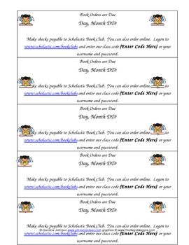 Book Order Due Date Strips