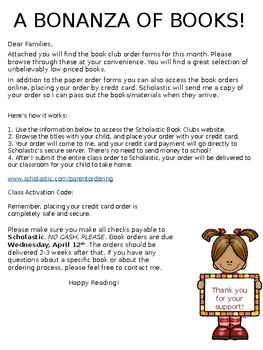 Book Order Information Sheet