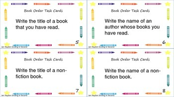 Book Order Literacy Center or Task Cards