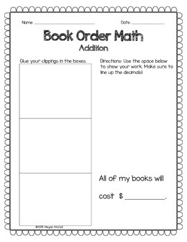 Book Order Math Preview: Addition