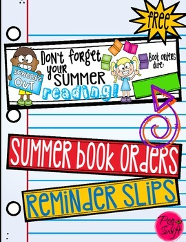 Book Order Reminder Slips * Freebie *